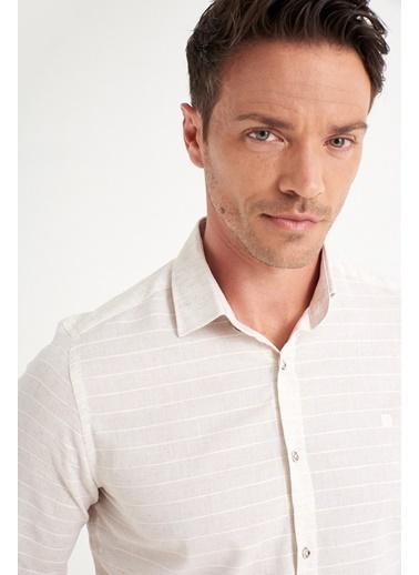 Avva Erkek  Enine Çizgili Klasik Gömlek A01Y2056 Bej